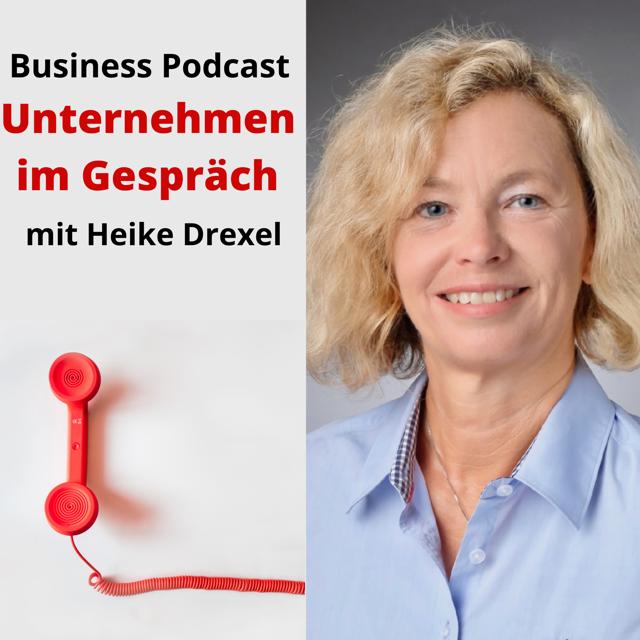 Logo für den Business Podcast Unternehmen im Gespräch von Heike Drexel aus Rösrath, bei Köln.